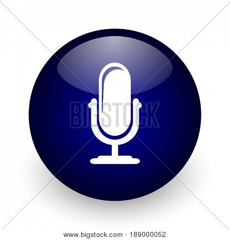 Microphone blue glossy ball web icon on white background. Round 3d render button.