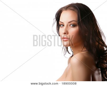 attractive woman with beautiful hair on white background