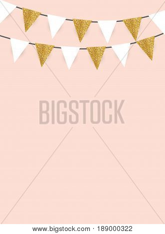 Party Background with Golden Glitter  Flags Vector Illustration. EPS10