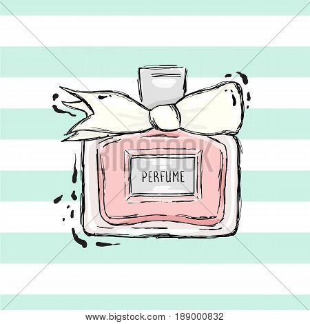 Perfume bottle pink with white bow. On the striped background.