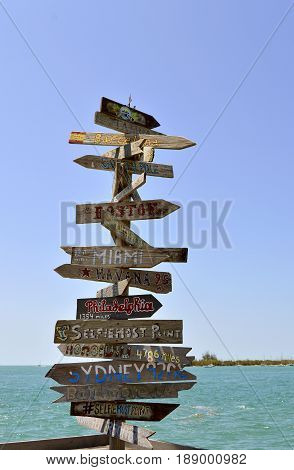 Key West Florida Keys Florida - May 15 2017: Direction distance position and indication sign