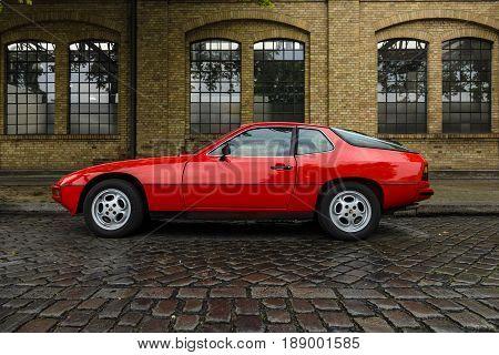 BERLIN - MAY 13 2017: Sports car Porsche 924 Targa 1977. Exhibition