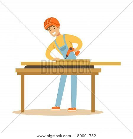 Young carpenter man drilling wood in his workshop, professional wood jointer character vector Illustration isolated on a white background