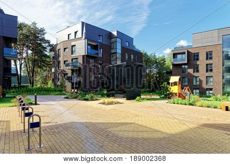 Vilnius, Lithuania - September 30, 2016: Modern terraced complex of apartment residential buildings. And outdoor facilities.