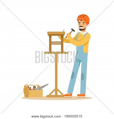 Smiling carpenter building a wooden chair, professional wood jointer character vector Illustration isolated on a white background