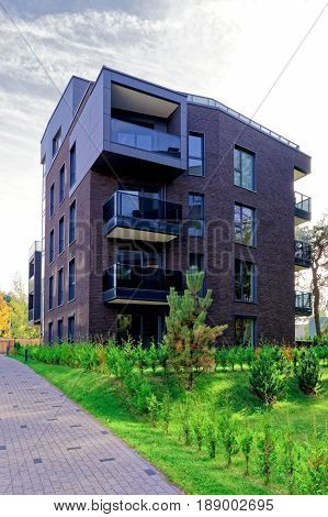 Vilnius, Lithuania - September 30, 2016: Modern architectural residential building. And outdoor facilities.