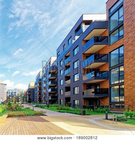 Vilnius, Lithuania - September 30, 2016: European modern complex of residential buildings. And outdoor facilities.
