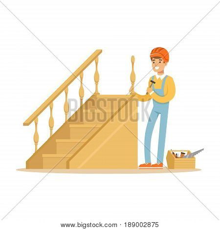 Carpenter building a wooden staircase, woodworker character vector Illustration isolated on a white background