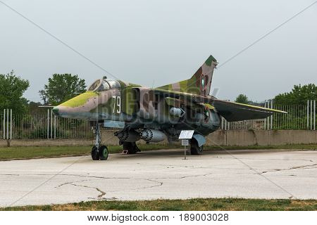 KRUMOVO, PLOVDIV, BULGARIA - 29 APRIL 2017: Fighter-Bomber Mikoyan-Gurevich MiG-23 in Aviation Museum near Plovdiv Airport, Bulgaria