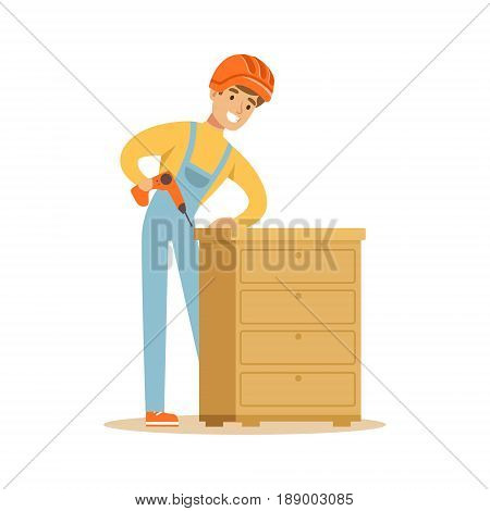 Young smiling carpenter man building chest of drawers, woodworker character vector Illustration isolated on a white background