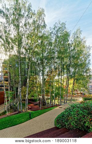 Vilnius, Lithuania - September 30, 3016: Birch trees and Modern glass apartment building. And outdoor facilities.