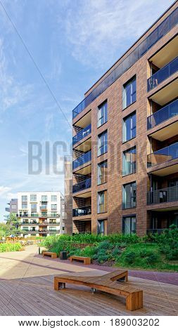 Vilnius, Lithuania - September 30, 3016: Benches at Modern architectural complex of apartment residential buildings. And outdoor facilities.