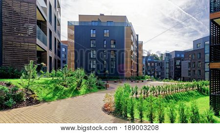 Vilnius, Lithuania - September 30, 2016: Architectural complex of apartment residential buildings. And outdoor facilities.