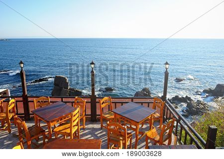 Chairs and tables on terrace in cafe on Black sea coast in Bulgaria