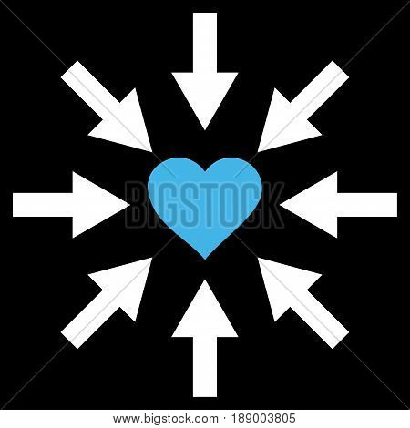 Impact Love Heart flat icon. Vector bicolor blue and white symbol. Pictograph is isolated on a black background. Trendy flat style illustration for web site design, logo, ads, apps, user interface.