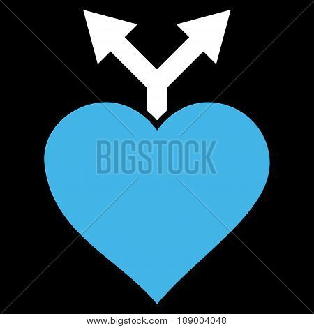 Love Variants flat icon. Vector bicolor blue and white symbol. Pictogram is isolated on a black background. Trendy flat style illustration for web site design, logo, ads, apps, user interface.