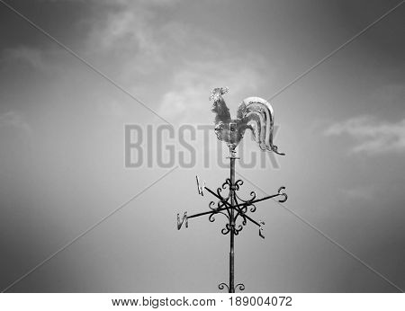 Black and white image of metal weather cock.