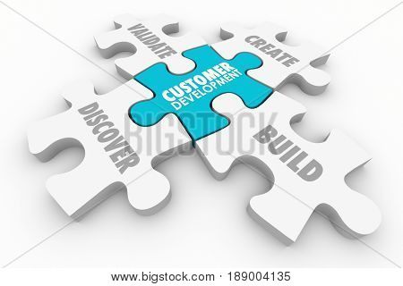 Customer Development Discovery Validation Process Puzzle 3d Illustration