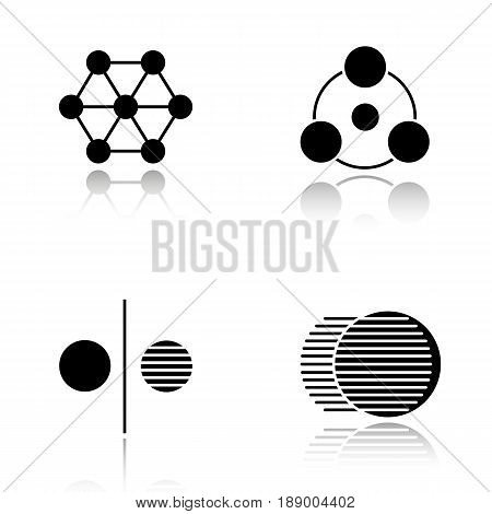 Abstract symbols drop shadow black icons set. Sharing, connections, opposite, movement. Isolated vector illustrations
