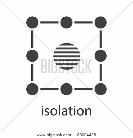 Isolation symbol glyph icon. Silhouette symbol. Insulation abstract metaphor. Negative space. Vector isolated illustration