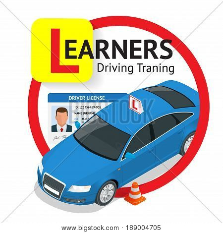 Design concept driving school or learning to drive. Flat isometric illustration.