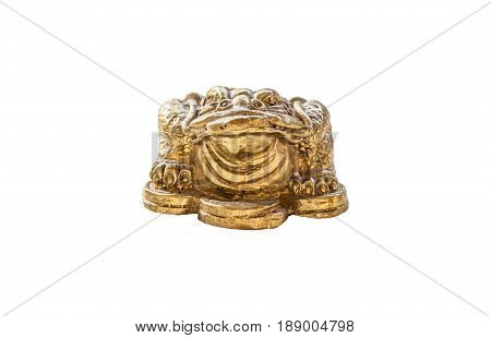 Cash mascot - Chan Chu - a gold frog figurine sitting on coins.isolated on white background with clipping path.