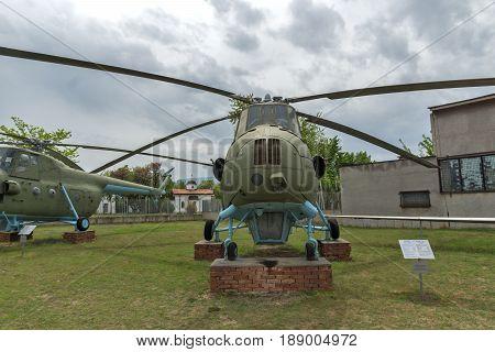 KRUMOVO, PLOVDIV, BULGARIA - 29 APRIL 2017: helicopter Mi 4 in Aviation Museum near Plovdiv Airport, Bulgaria