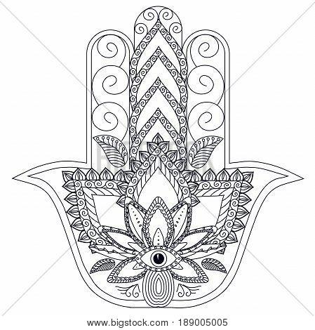 Monochrome stylized ornamental hamsa for logo, for tattoo, for machindi stock vector illustration