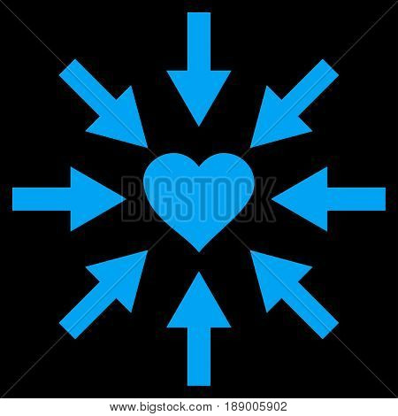 Impact Love Heart flat icon. Vector blue symbol. Pictogram is isolated on a black background. Trendy flat style illustration for web site design, logo, ads, apps, user interface.