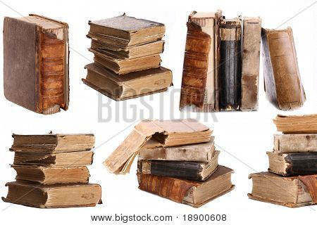 bunch of old books on white