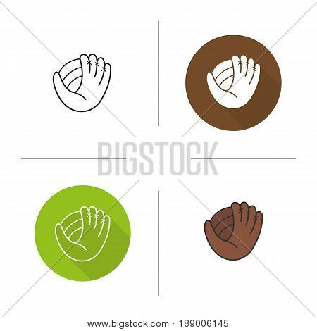 Baseball glove icon. Flat design, linear and color styles. Softball mitt. Isolated vector illustrations