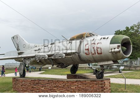 KRUMOVO, PLOVDIV, BULGARIA - 29 APRIL 2017: Fighter Mikoyan-Gurevich MiG-19 in Aviation Museum near Plovdiv Airport, Bulgaria