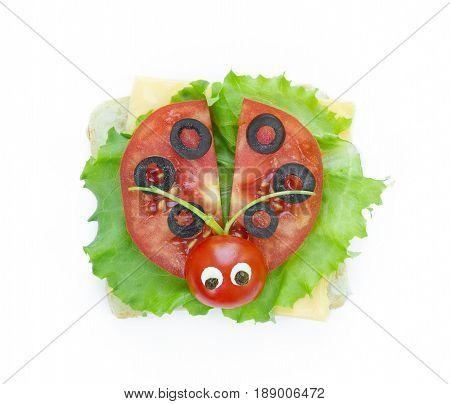 Ladybug sandwich for kids isolated on white background