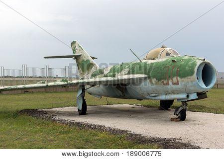 KRUMOVO, PLOVDIV, BULGARIA - 29 APRIL 2017: Fighter Mikoyan-Gurevich MiG-15 Aviation Museum near Plovdiv Airport, Bulgaria