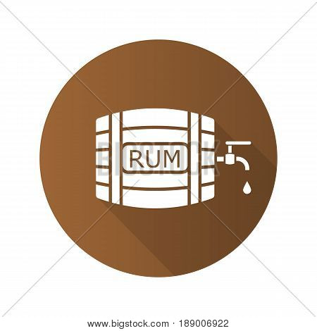 Rum wooden barrel. Flat design long shadow icon. Alcohol barrel with tap and drop. Vector silhouette symbol