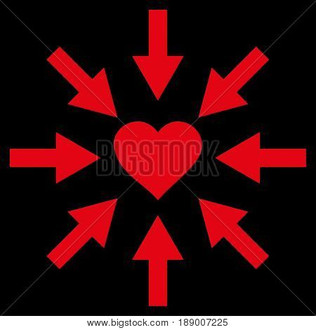 Impact Love Heart flat icon. Vector red symbol. Pictogram is isolated on a black background. Trendy flat style illustration for web site design, logo, ads, apps, user interface.