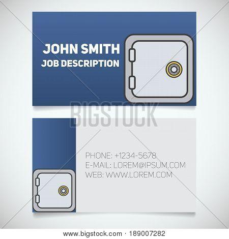 Business card print template with bank vault logo. Manager. Bank security. Safe deposit box. Stationery design concept. Vector illustration