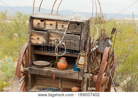 Vintage Western Pioneer Wagon Kitchen Horse Cart