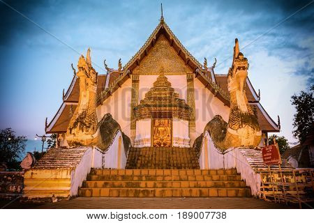 Wat Phumin or Wat Phumin Temple Attractions of Nan Province Thailand. Painting the walls that tourists like to visit.