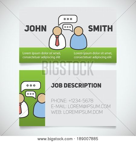 Business card print template with interview logo. Journalist. Reporter. Employer. Employee. Stationery design concept. Vector illustration