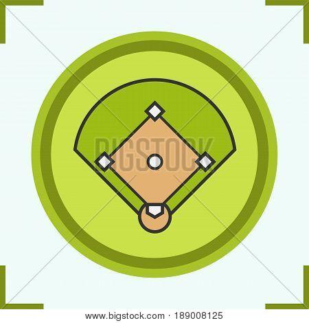 Baseball field color icon. Softball field scheme. Isolated vector illustration