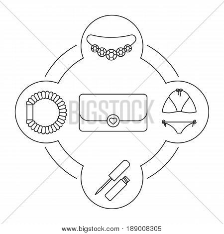 Women's handbag contents linear icons set. Clutch, necklace, swimsuit, hair scrunchy, lip gloss. Isolated vector illustrations