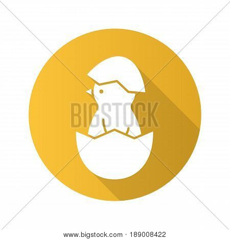 Newborn chicken flat design long shadow icon. Nestling in egg shell. Vector silhouette symbol