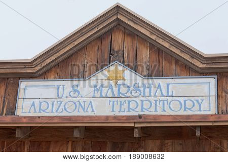Vintage Western Us Marshal Arizona Territory Sign