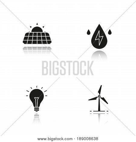Eco energy drop shadow black icons set. Solar panels, windmill, water energy, light bulb. Isolated vector illustrations