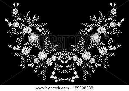 Black and white monochrome field flower embroidery. Traditional vintage decoration. Field rustic daisy herbs butterfly vector illustration art patch