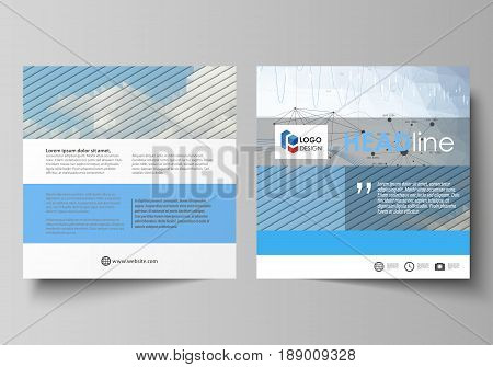 Business templates for square design brochure, magazine, flyer, booklet or annual report. Leaflet cover, abstract flat layout, easy editable vector. Blue color abstract infographic background in minimalist style made from lines, symbols, charts, diagrams