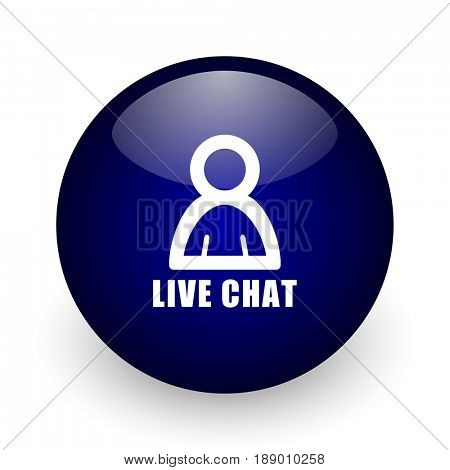 Live chat blue glossy ball web icon on white background. Round 3d render button.