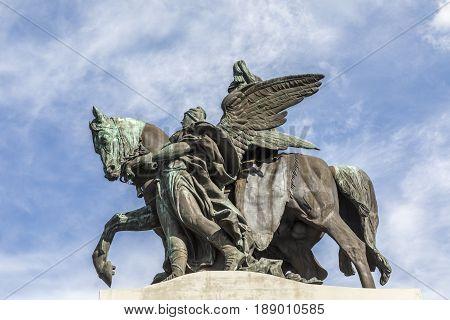 Remodeled equestrian statue of German Emperor William I in German Corner in Koblenz Germany