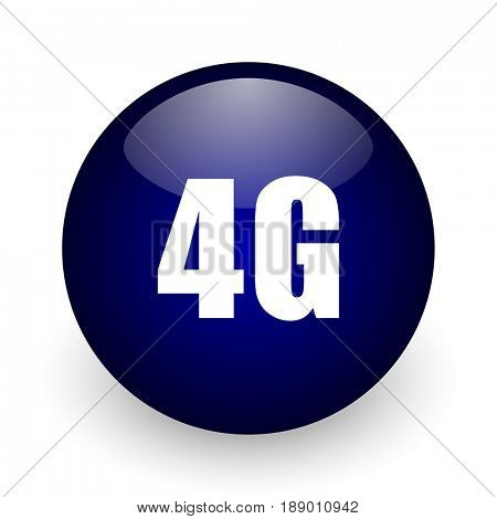 4g blue glossy ball web icon on white background. Round 3d render button.